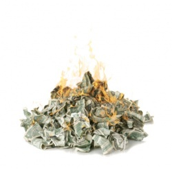 A pile of cash in flames