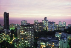 The Mumbai skyline at dusk