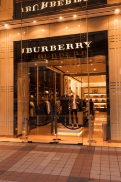 Burberry shop window illuminated at night in Wangfujing Street Beijing